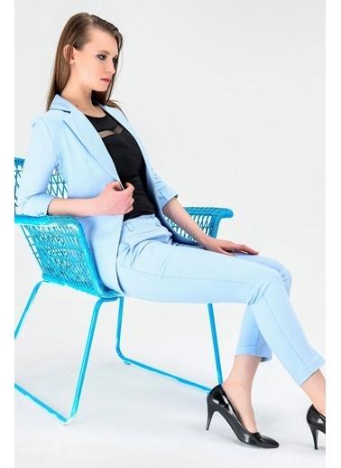 Jument Kapri Truvakar Kol Süs Cepli Kopçalı Ofis Blazer Kumaş Ceket-Fuşya Mavi